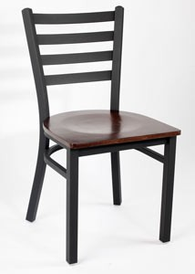 Royal Industries ROY 9001 W Ladder Back Metal Chair with Walnut Finish Wood Seat