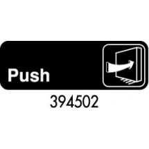 "Royal ROY 394502 Black ""Push"" Sign 3"" x 9"""