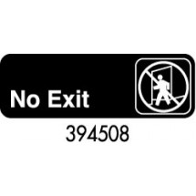 "Royal ROY 394508 Black ""No Exit"" Sign 3"" x 9"""