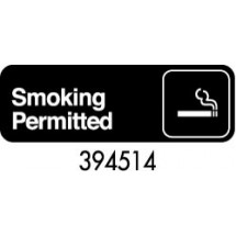 "Royal ROY 394514 Black ""Smoking Permitted"" Sign 3"" x 9"""