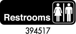 "Royal ROY 394517 Black ""Restrooms"" Sign 3"" x 9"""