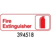 "Royal ROY 394518 White ""Fire Extinguisher"" Sign 3"" x 9"""