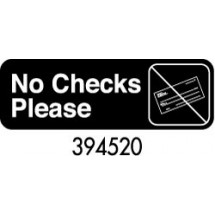 "Royal ROY 394520 Black ""No Checks Please"" Sign 3"" x 9"""