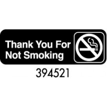 "Royal ROY 394521 Black ""Thank You For Not Smoking"" Sign 3"" x 9"""
