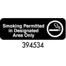 "Royal ROY 394534 Black ""Smoking Permitted In Designated Areas Only"" Sign 3"" x 9"""