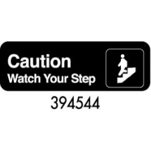 "Royal ROY 394544 Black ""Caution Watch Your Step"" Sign 3"" x 9"""