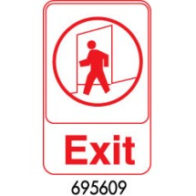 "Royal ROY 695609 White ""Exit"" Sign 6"" x 9"""