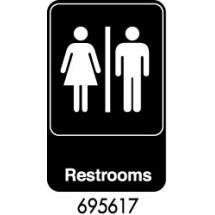 "Royal ROY 695617 Black ""Restrooms"" Sign 6"" x 9"""