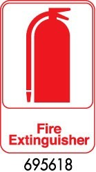"Royal ROY 695618 White ""Fire Extinguisher"" Sign 6"" x 9"""