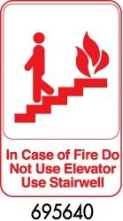 """Royal ROY 695640 White """"In Case Of Fire Do Not Use Elevator Use Stairwell"""" Sign 6"""" x 9"""""""