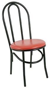 Royal ROY 717 R Hairpin Back Bistro Side Chair with Black Steel Frame and Red Vinyl Seat - 2 pcs
