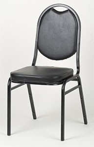 Royal ROY 719 B Black Vinyl Round Back Stacking Chair