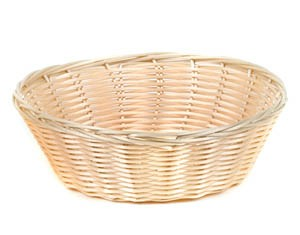 "Royal ROY BP 1 Round Polypropylene Rattan Basket 9"" x 3"" - 1 doz"