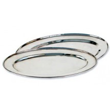 "Royal ROY OP 14 Oval Stainless Steel Serving Tray 9"" x 14"""