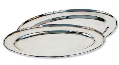 "Royal ROY OP 16 Oval Stainless Steel Serving Tray 11"" x 16"""