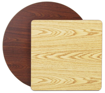 "Royal Industries ROY RTT 3030 T Rectangular Reversible Oak / Walnut Woodgrain Table Top 30"" x 30"""
