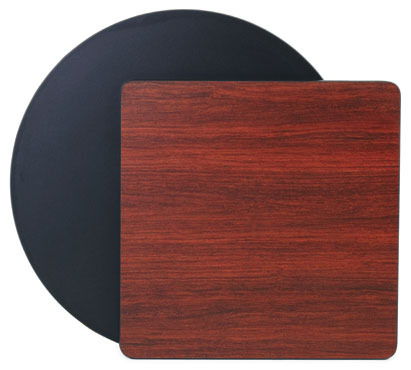 "Royal Industries ROY RTT BM 3636 T Rectangular Reversible Black / Mahogany Rectangular Table Top 36"" x 36"""