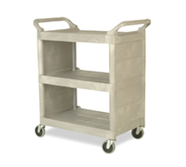 Rubbermaid FG335588PLAT Utility Cart with 3 Shelves