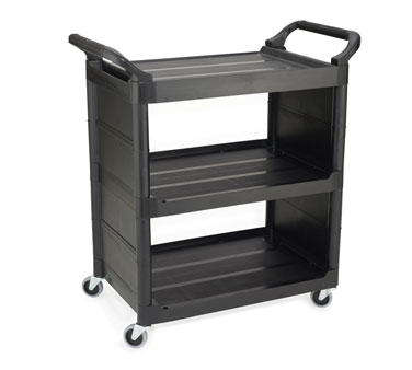 Rubbermaid FG342100BLA Utility Cart with 3 Shelves