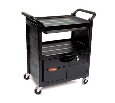 Rubbermaid FG345700BLA Utility Cart with 3 Shelves
