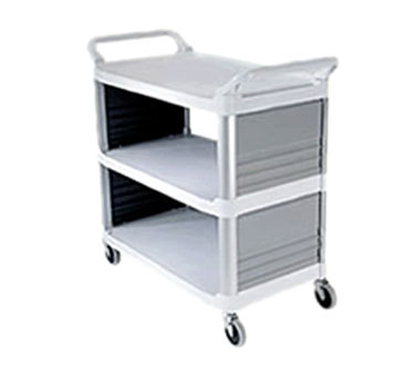 Rubbermaid FG409200OWHT Xtra Utility Cart Enclosed on 2 Sides