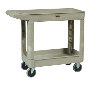 Rubbermaid FG450088BEIG Utility Cart with Two Shelves