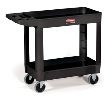 Rubbermaid FG450088BLA Utility Cart with Two Shelves
