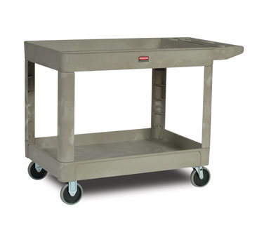 Rubbermaid FG452088BEIG Utility Cart with Two Shelves