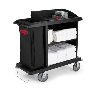 Rubbermaid FG619000BLA Black Compact Housekeeping Cart
