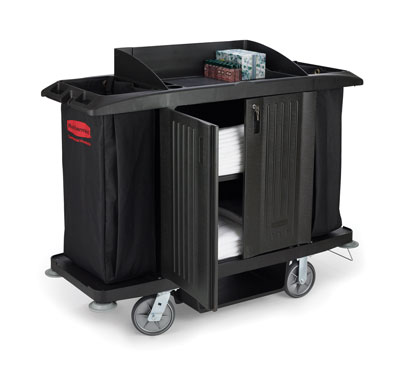 Rubbermaid FG619100BLA Housekeeping Cart with Doors and Vinyl Bag
