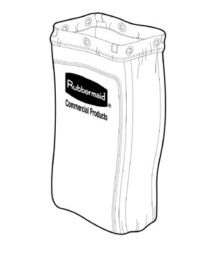 Rubbermaid FG619300BRN Housekeeping Cart Replacement Bag with Zippered Side Opening
