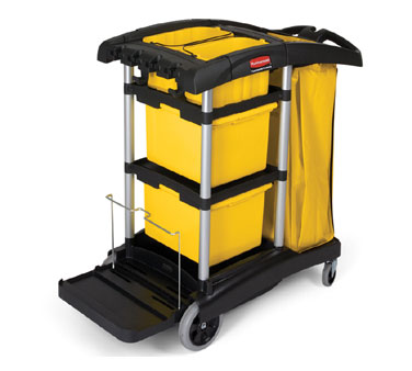 Rubbermaid FG9T7300BLA Microfiber Cleaning Cart 48-1/4