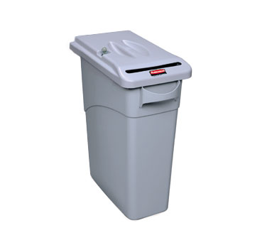 Rubbermaid FG9W2500LGRAY Slim Jim 15-7/8 Gallon Confidential Document Container with Lid
