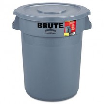 Rubbermaid Brute Gray Round Waste Container with Lid, 32 Gallon