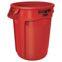 Rubbermaid Brute Red Round Trash Container, 32 Gallon