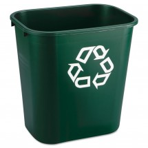 Rubbermaid Deskside Green Paper Recycling Container, 7 Gallon