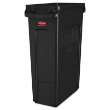 Rubbermaid Slim Black Waste Container with Venting Channels, 23 Gallon