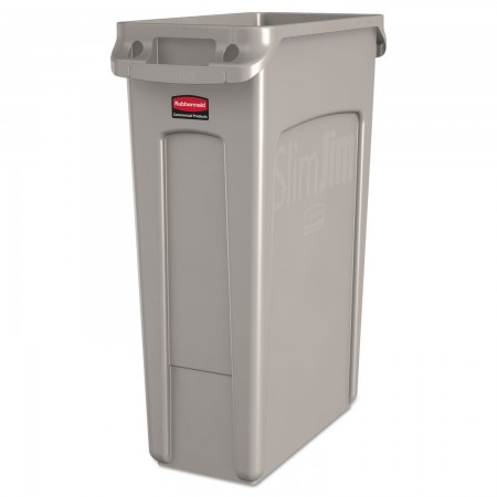 Rubbermaid Slim Jim Beige Waste Container with Venting Channels, 23 Gallon