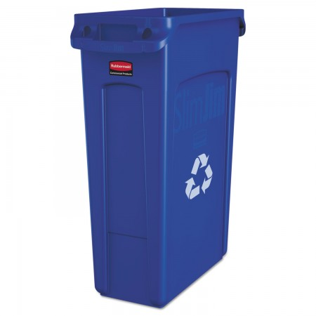 Rubbermaid Slim Jim Blue Recycling Container with Venting Channels, 23 Gallon
