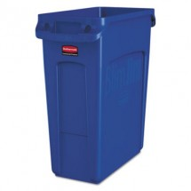 Rubbermaid Slim Jim Blue Waste Container with Handles, 15.9 Gallon