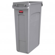 Rubbermaid Slim Jim Gray Waste Container with Venting Channels, 23 Gallon
