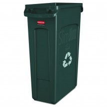Rubbermaid Slim Jim Green Recycling Container with Venting Channels, 23 Gallon