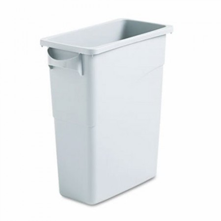Rubbermaid Slim Jim Light Gray Waste Container with Handles, 15.9 Gallon