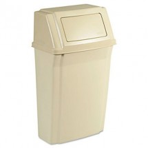 Rubbermaid Slim Jim Wall-Mounted Beige Waste Container, 15 Gallon