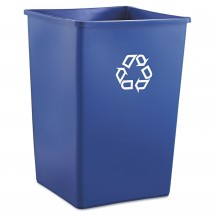 Rubbermaid Square Blue Recycling Container, 35 Gallon