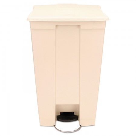 Rubbermaid Step-On Waste Receptacle with Wheels, Beige, 23 Gallon