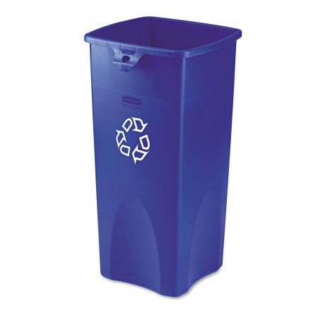 Rubbermaid Untouchable Blue Square Recycling Container, 23 Gallon
