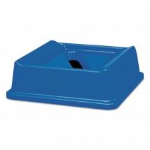 Rubbermaid Untouchable Slotted Recycling Top, Square, Blue