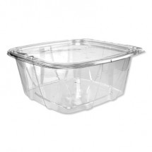 Dart SafeSeal Tamper-Resistant, Tamper-Evident Deli Containers with Flat Lid, 64 oz, Clear, 200/Carton