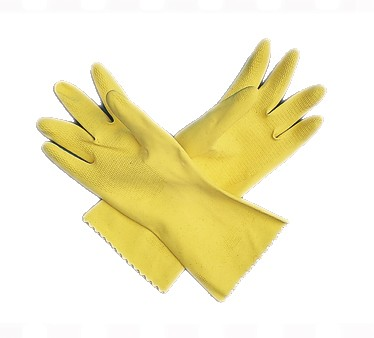San Jamar 620-L Large Yellow Latex Flocked Glove - 1 doz
